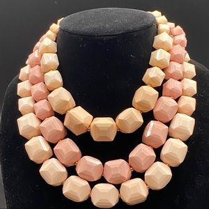 Vintage Multi-Strand Chunky Pink Necklace